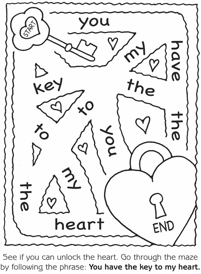 Key to My Heart Valentines Maze