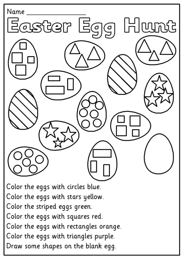 Kindergarten Easter Egg Hunt Worksheet