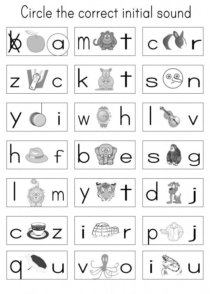 Kindergarten Phonics Practice Sheet