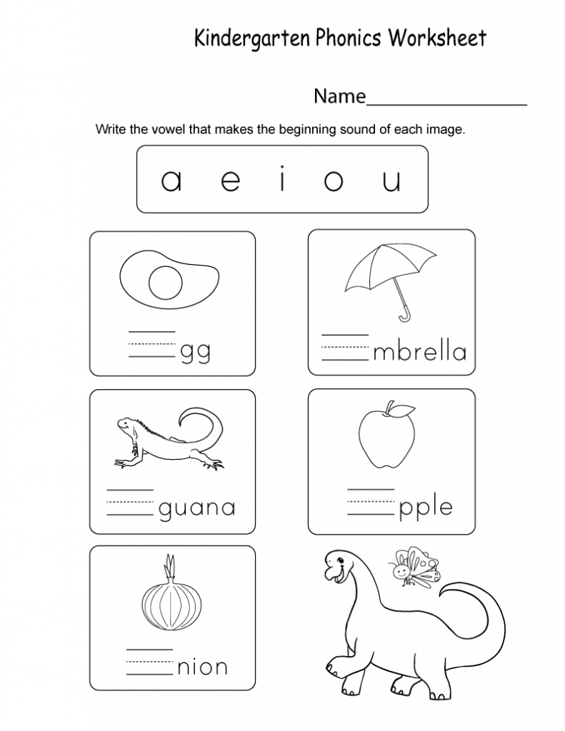 Kindergarten Phonics Worksheet