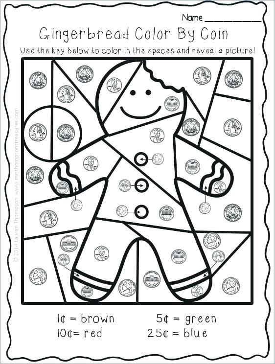 Kindergarten Worksheets Color by Coin