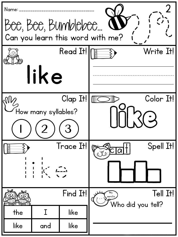 Learn the Word - Kindergarten English Worksheets
