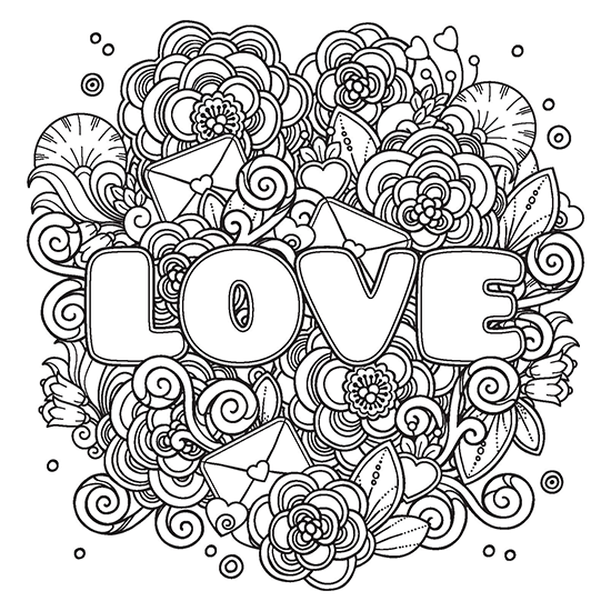 Love Flourish Coloring Page