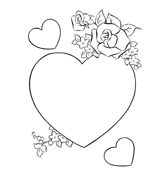 Love Roses and Hearts Coloring Pages