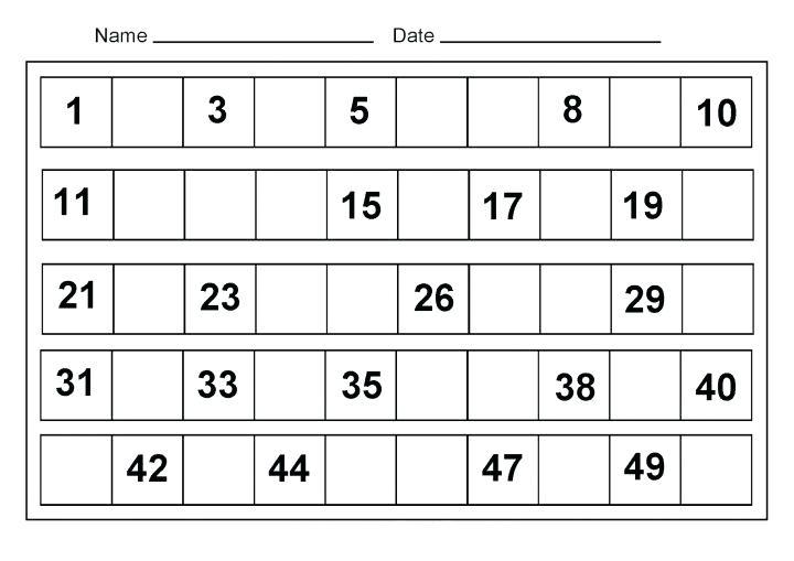 Math Kindergarten Worksheets Missing Number