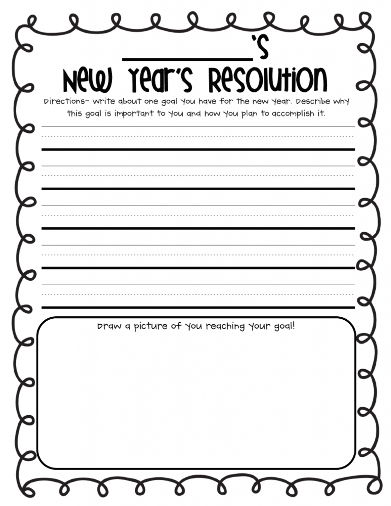 New Year Holiday Worksheet