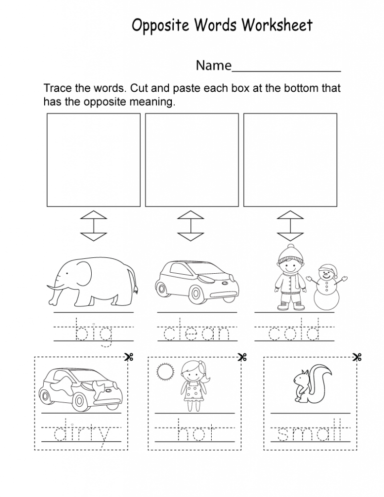 Opposite Words - Kindergarten English Worksheets