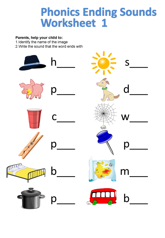 Phonics Ending Sounds Worksheet