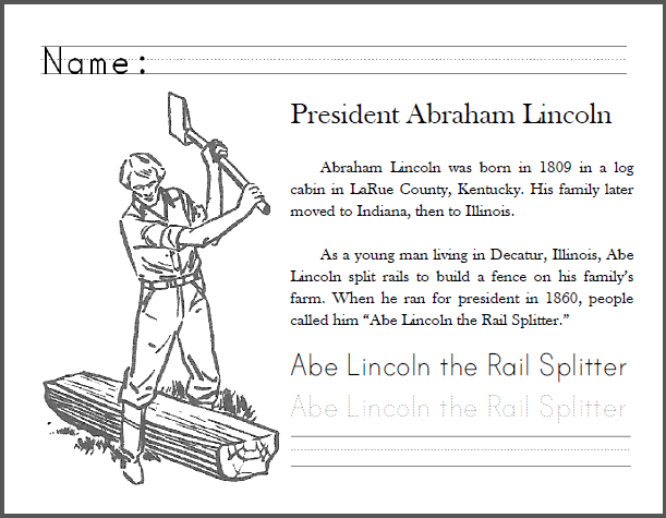President Abraham Lincoln Worksheets
