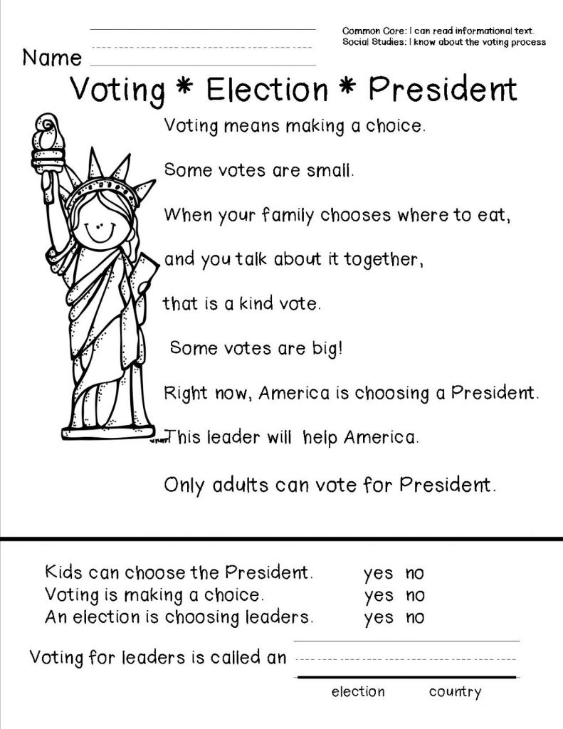 Presidents Day Election Worksheets
