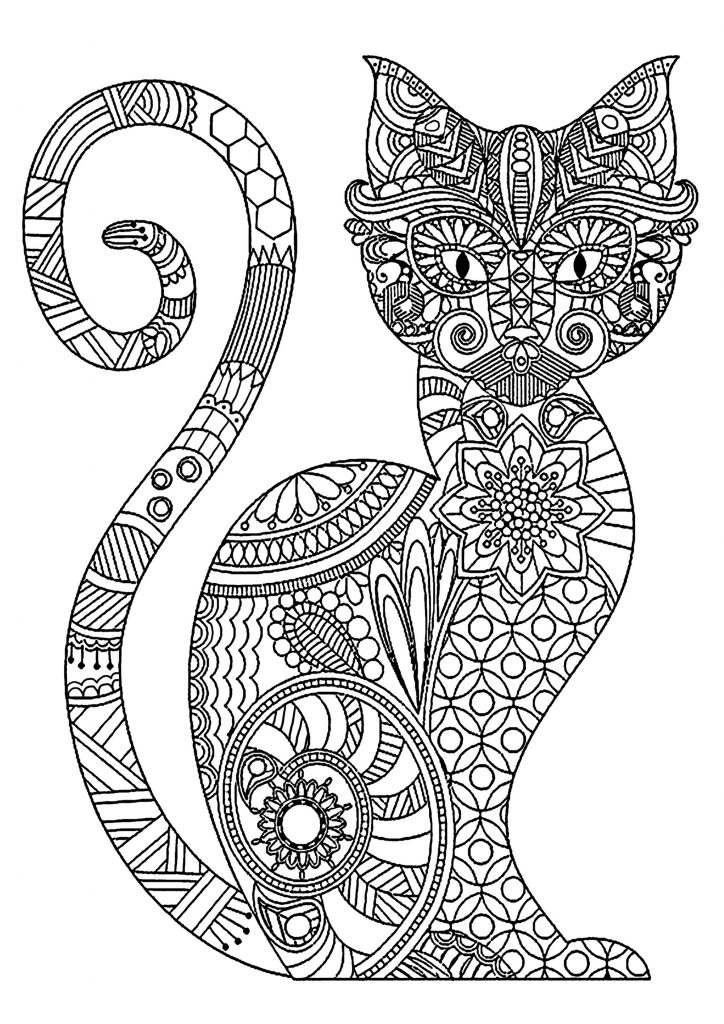 Print Cat Coloring Pages for Adults