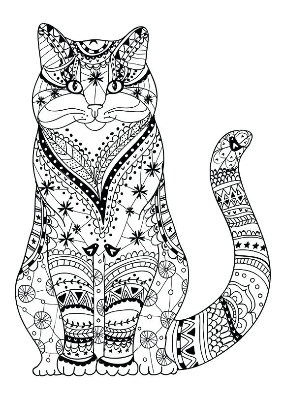 Print Free Cat Coloring Pages for Adults