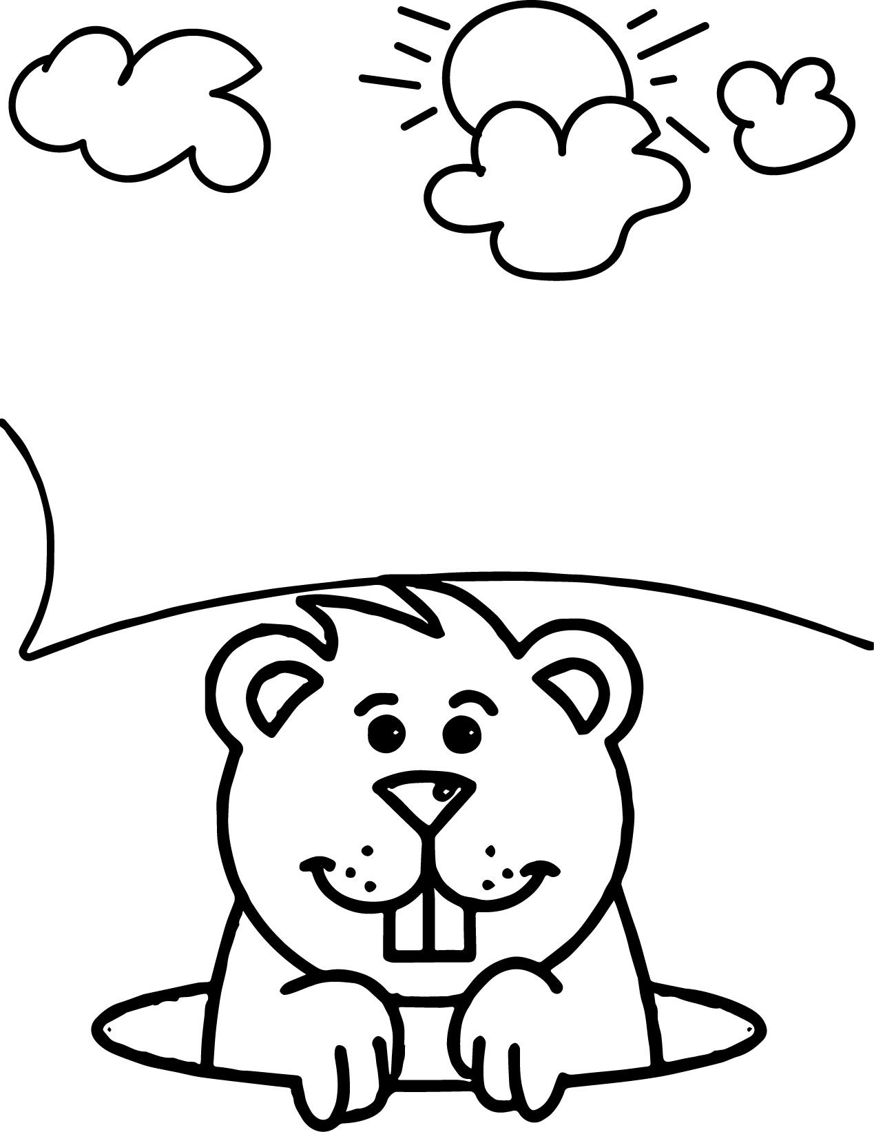 This is a graphic of Smart Groundhog Day Coloring Pages Free Printable