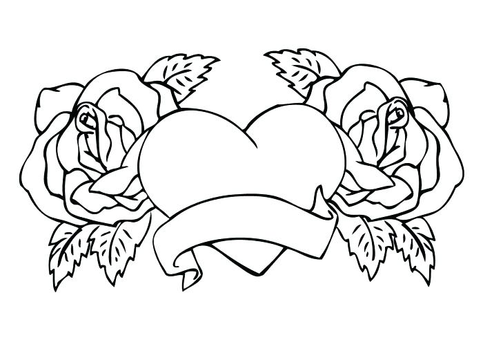 Print Roses and Hearts Coloring Pages