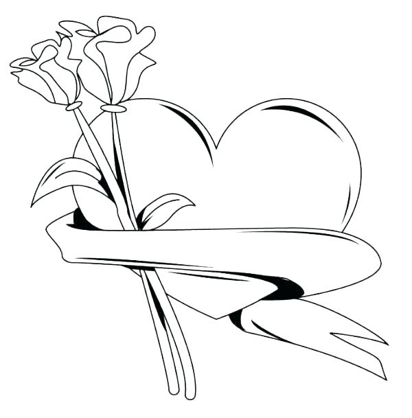 Printable Roses and Hearts Coloring Pages