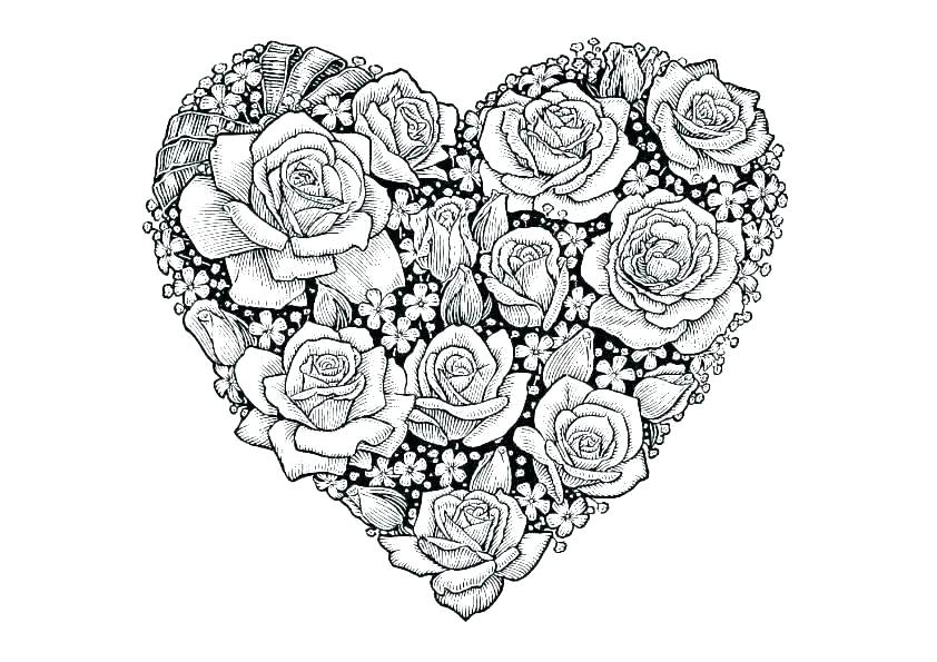 Roses and Hearts Coloring Pages | Cute heart drawings, Rose ... | 595x842
