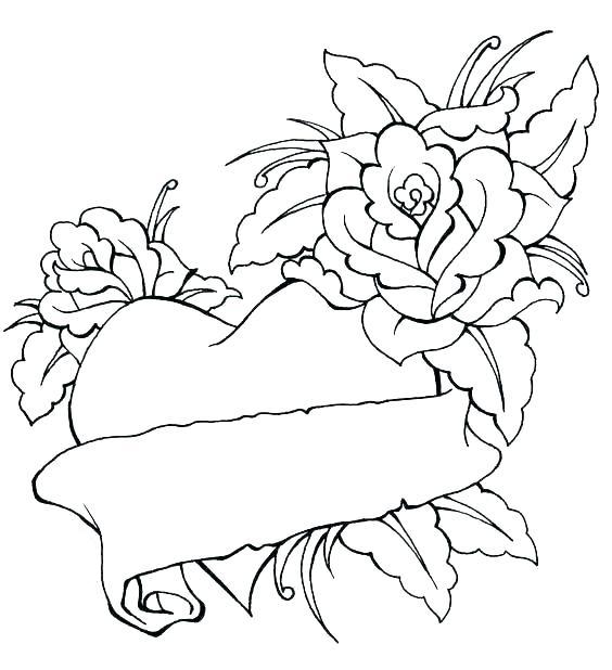 Roses and Hearts Banner Coloring Pages