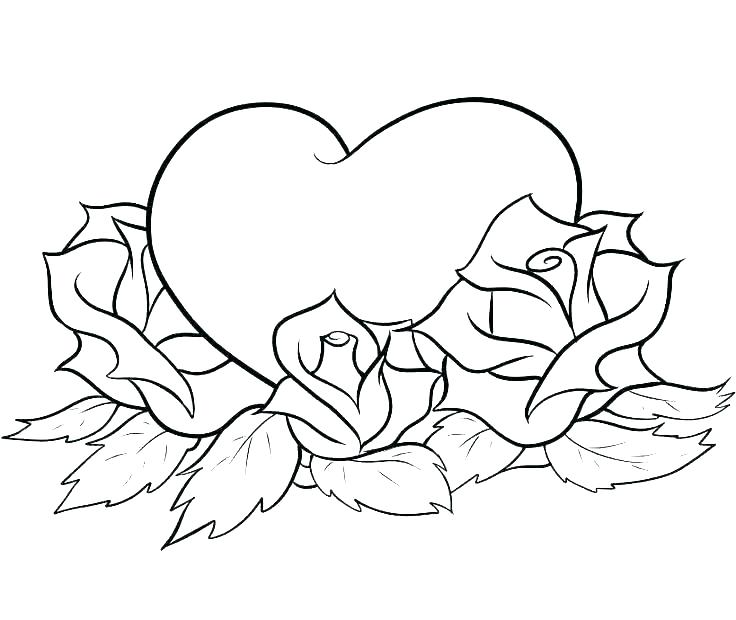 Roses and Hearts Coloring Page Printable