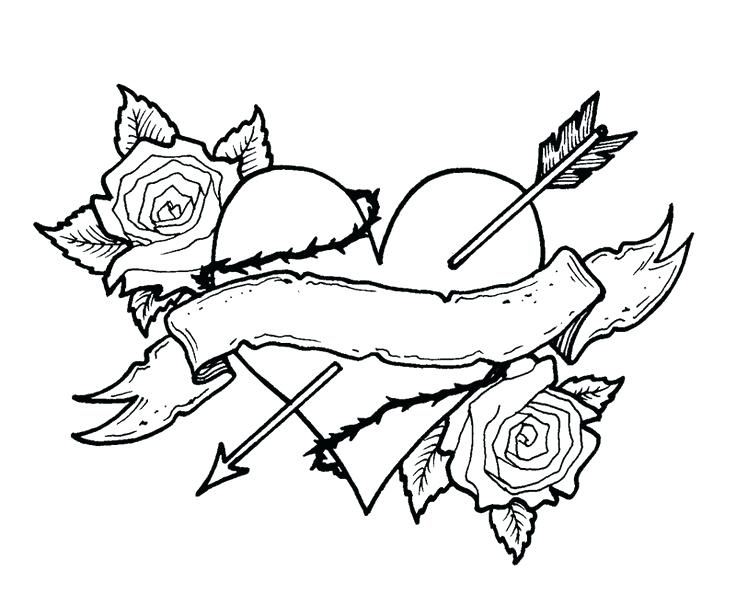 Roses and Hearts Tattoo Coloring Pages