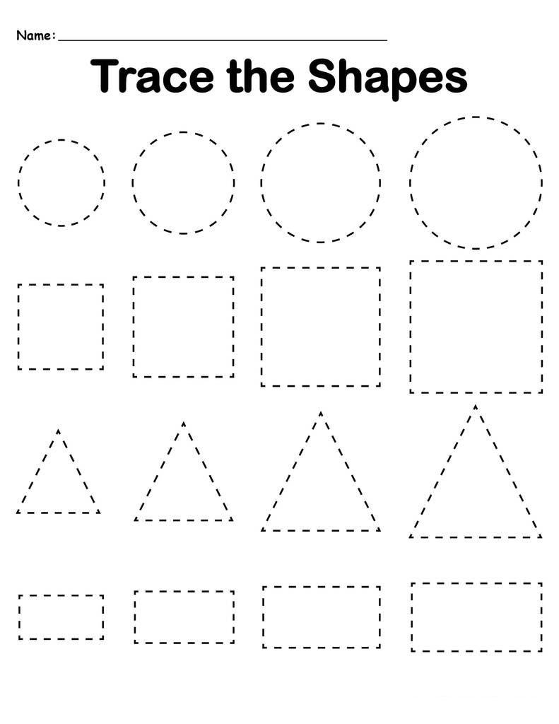 Shapes Preschool Tracing Worksheets