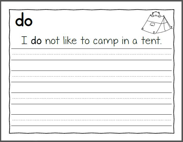 The Word Do - Kindergarten Handwriting Worksheets