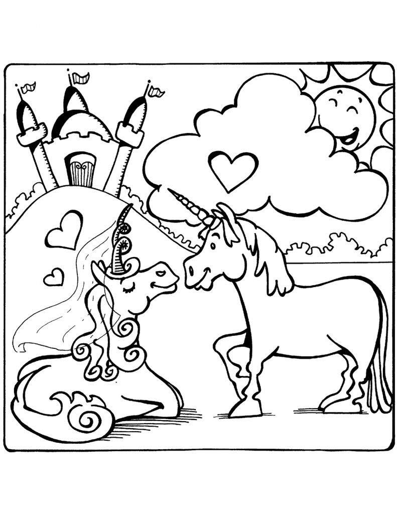 Unicorn Love Coloring Page