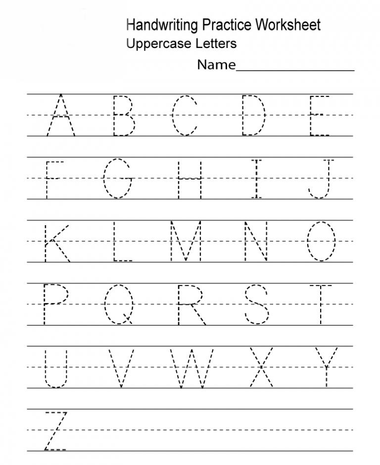 Uppercase Kindergarten Handwriting Worksheets