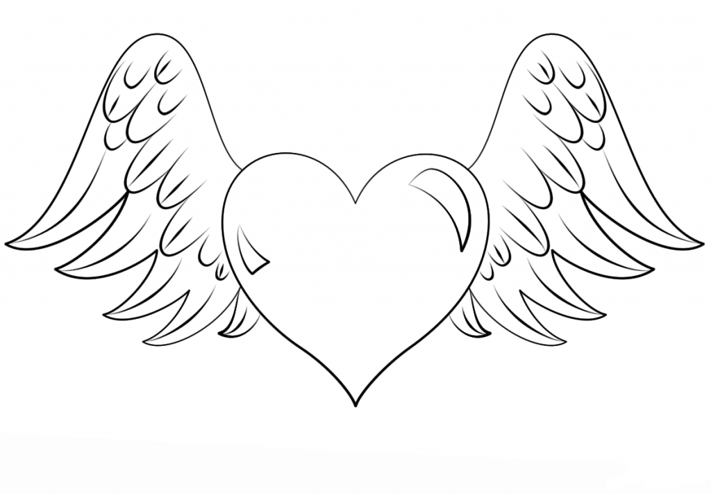 Winged Heart Coloring Pages for Adults