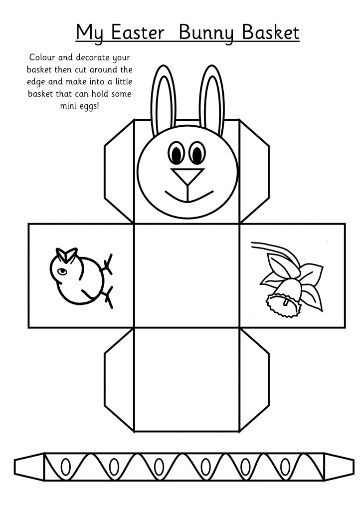 Easter Basket Activity Cutout Sheet