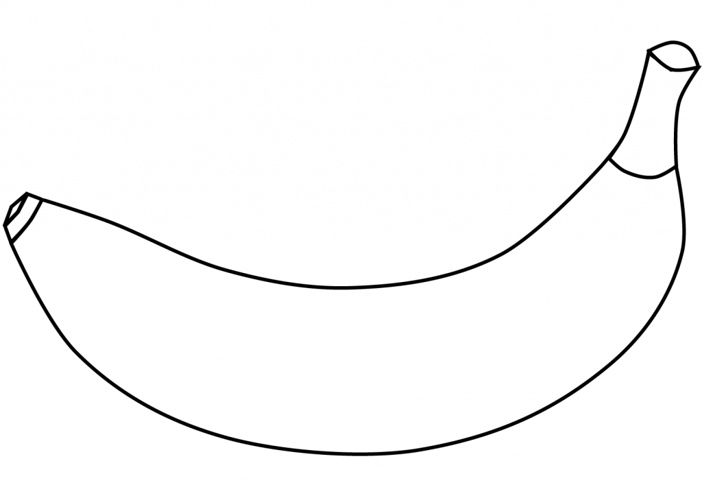Easy Banana Outline Coloring Page