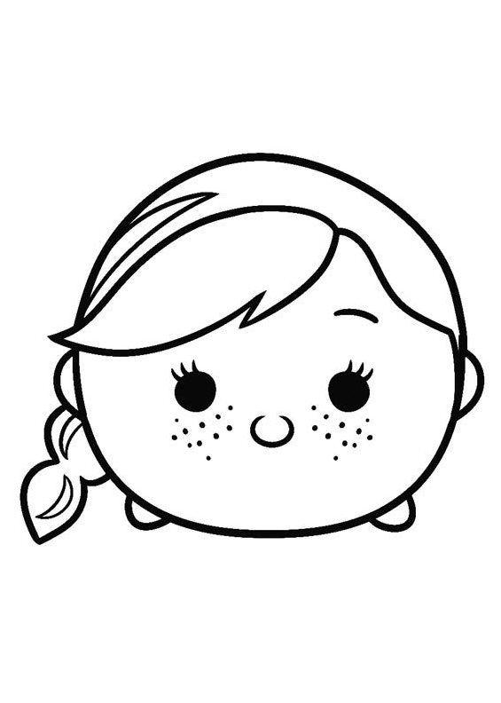 Frozen Anna Tsum Tsum Coloring Pages