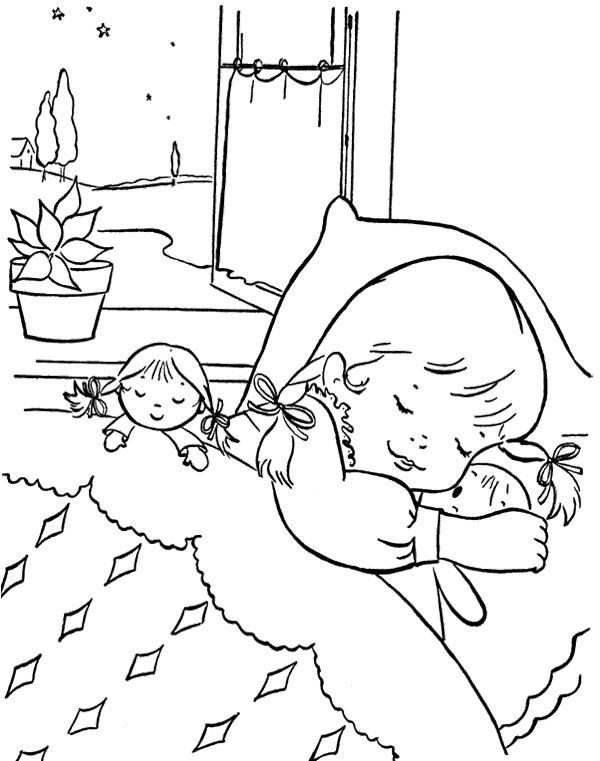 Girl Sleeping With her Dolls Coloring Page