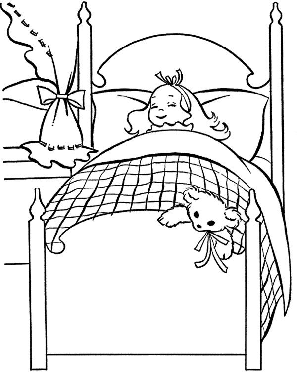 Little Girl with Stuffed Doll Coloring Page