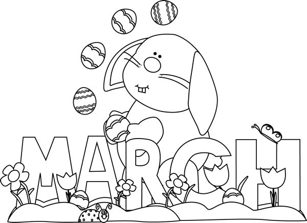 March Bunny Coloring Pages