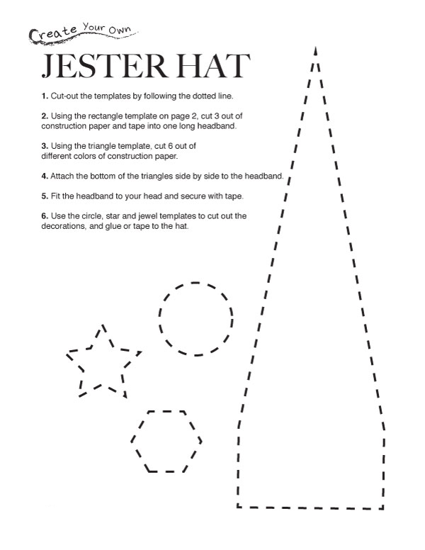 Mardi Gras Jester Hat Worksheets