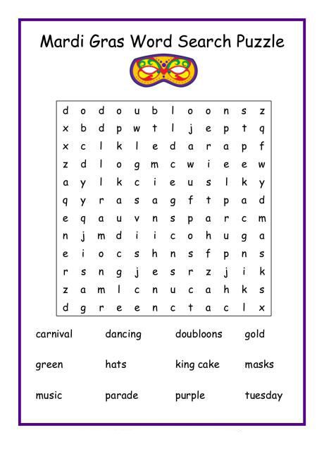 Mardi Gras Wordsearch Puzzle