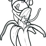 Monkey Banana Fruit Coloring Page