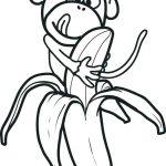 Monkey Banana Fruit Coloring Page