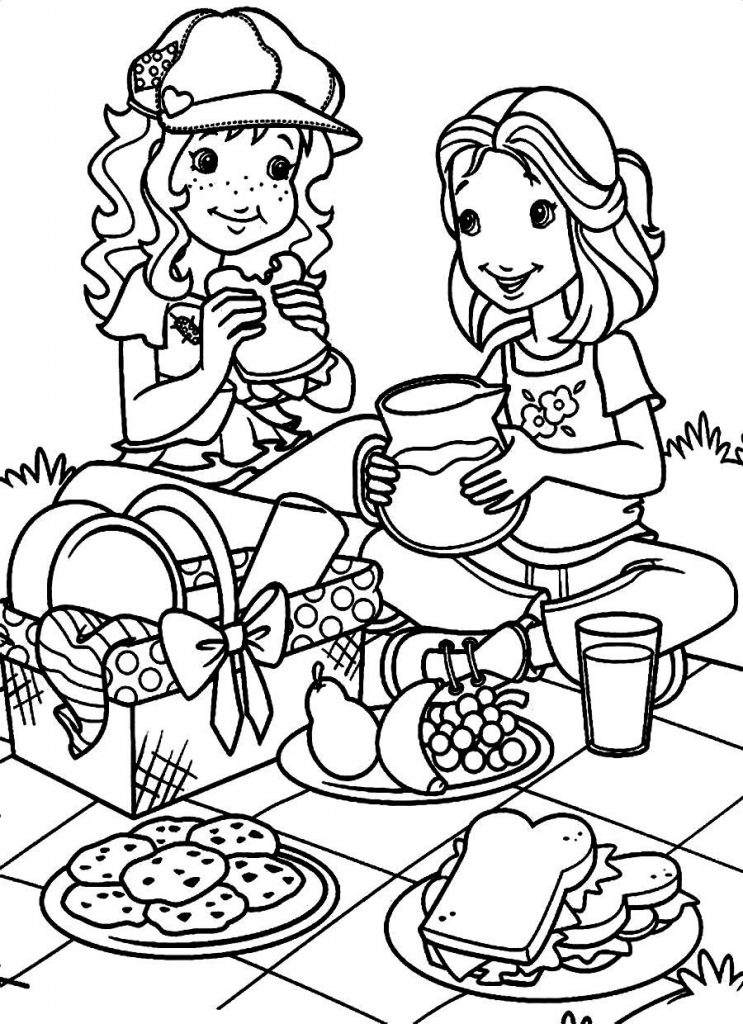 Picnic in March Coloring Page