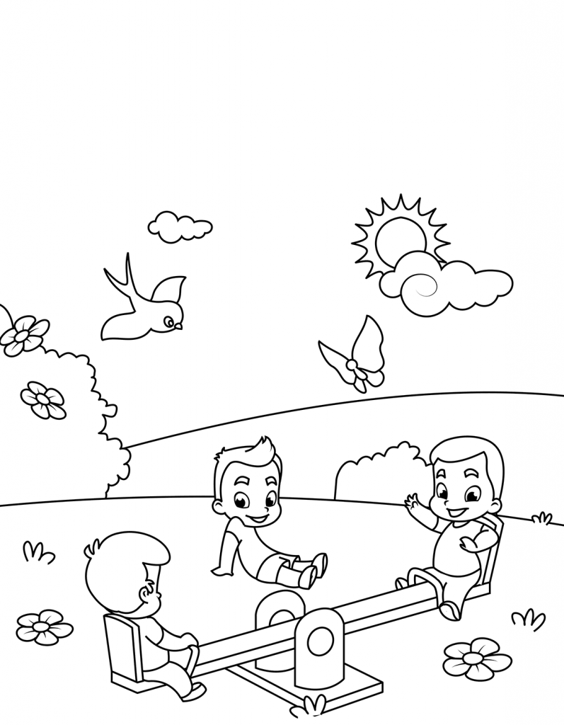 Playground in March Coloring Page