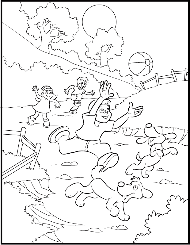 Playing in Spring Coloring Page