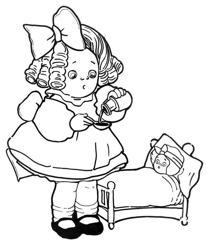 Playing with Dolls Coloring Pages
