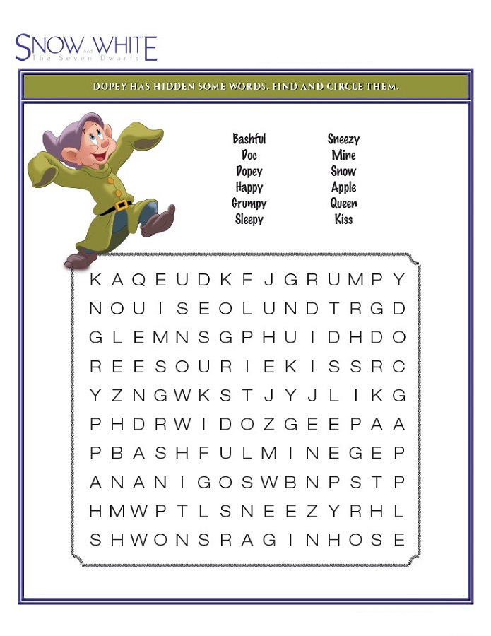 Snow White Disney Word Search