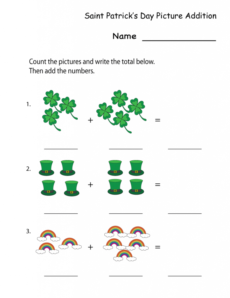 St Patricks Day Addition Worksheet