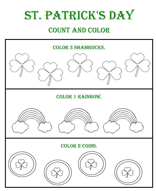 St Patricks Day Count and Color Worksheets