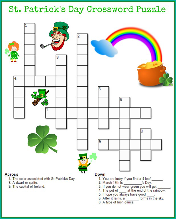 image about St Patrick's Day Crossword Puzzle Printable named St Patricks Working day Puzzles - Great Coloring Internet pages For Children