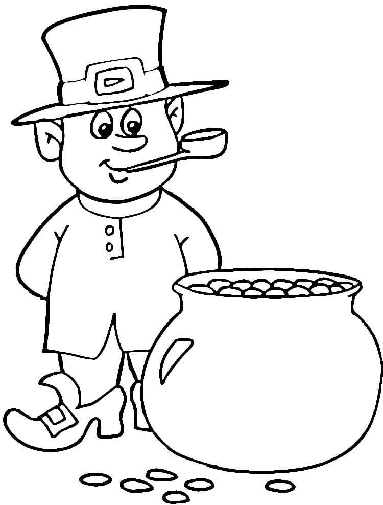 St Patricks Day Leprechaun Gold Coloring Page