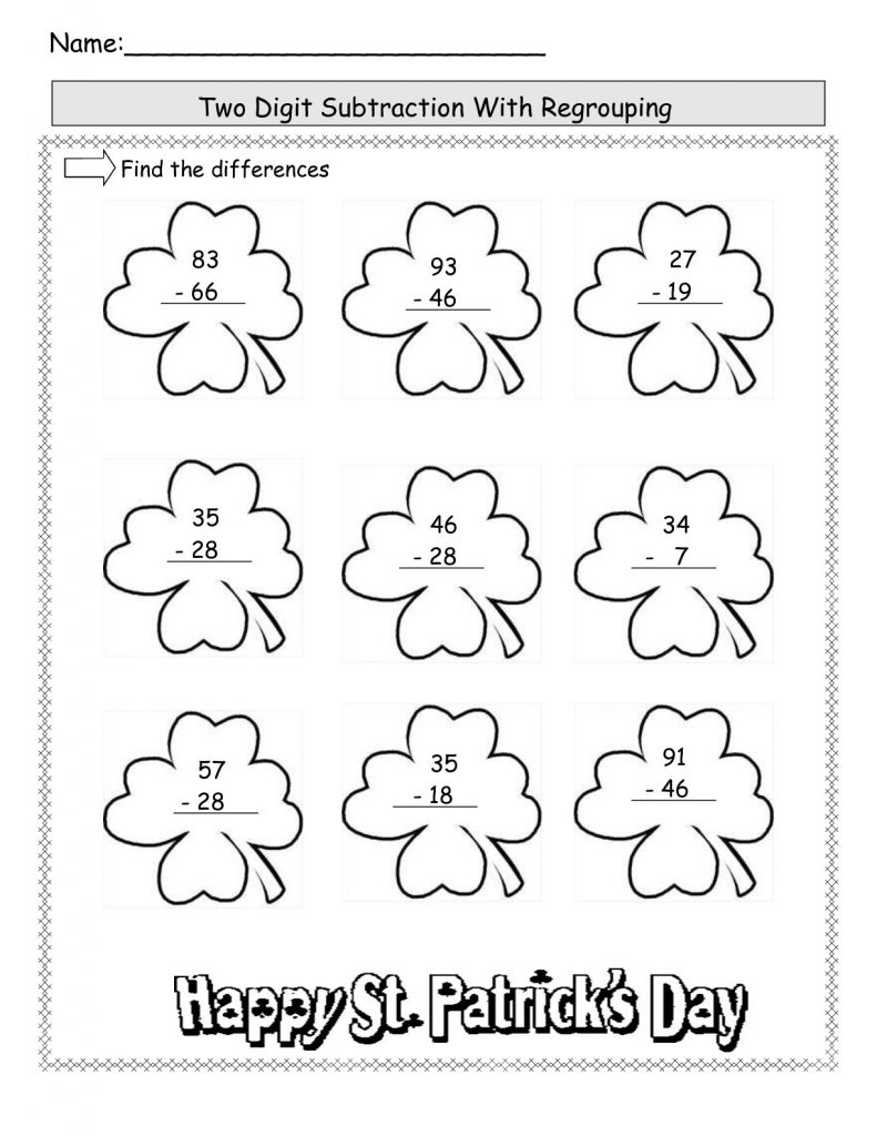 St Patricks Day Subtraction Worksheets