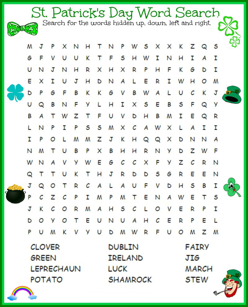 St Patricks Day Word Search Printables