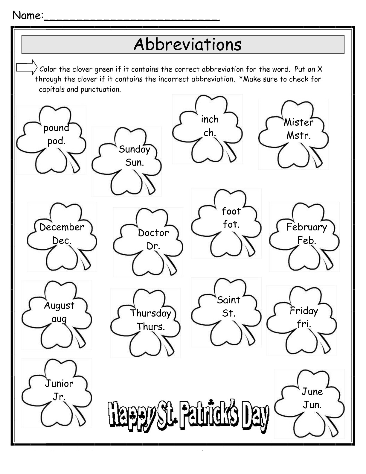 St Patricks Day Worksheets Best Coloring Pages For Kids